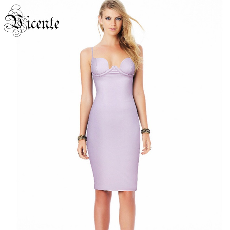 Vicente Out Of Size Clearance Sale! Fashion Levender Sexy Deep Vneck Plunge PU Celebrity Party Leatherette Slip Dress