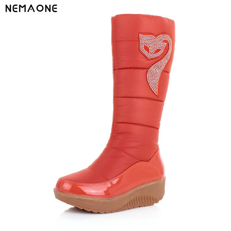 NEMAONE 2017 Cotton fashion waterproof snow boots women's knee high boots flat winter boots platform fur shoes women size 34-43 winter warm snow boots cotton shoes flat heels knee high boots women boots wholesale high quality