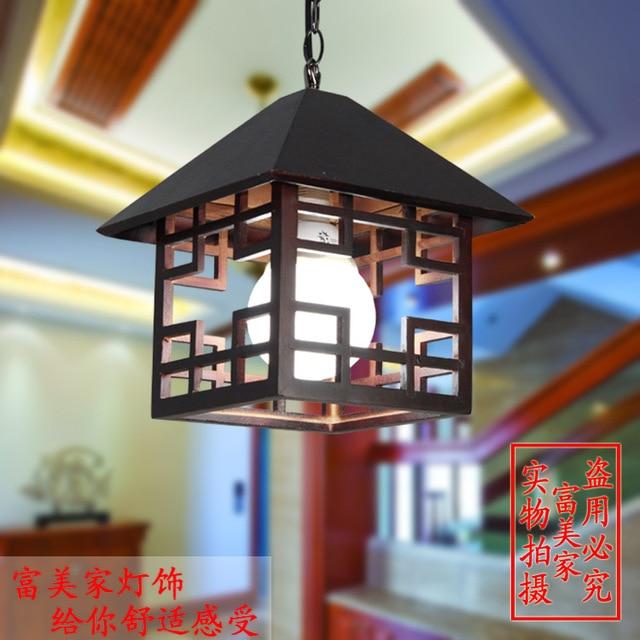 Chinese Style Lighting Lamps Clical Ceramic Red Lantern Balcony Entranceway Pendant Light Single Head
