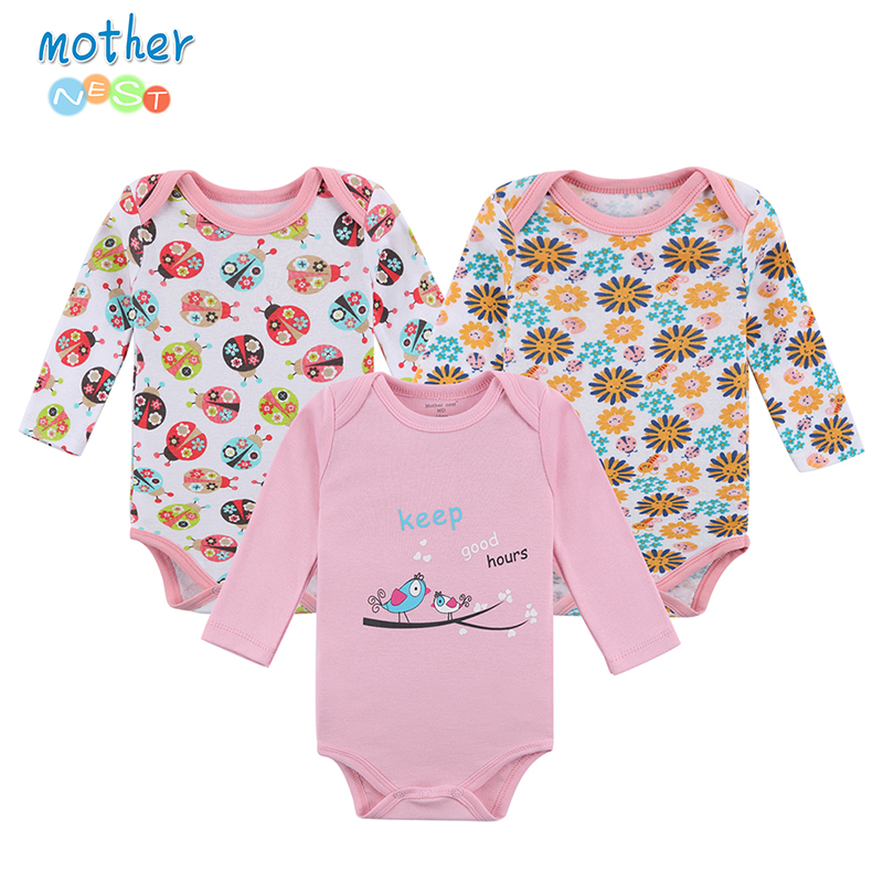 Mother Nest Baby Bodysuit 3 st / lot Cotton Babies Nyfödda 100% Cotton Baby Body Långärmad Infant Boy Girl Climb Clothes