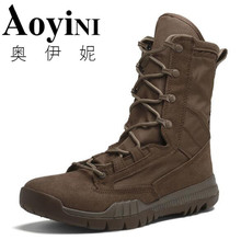 2019 Spring/Autumn Men Military Boot Black Breathable Canvas Ultra light Desert Shoes Mens Combat Ankle Tactical Army Boots