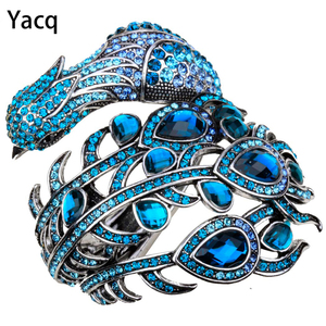 Image 1 - YACQ Peacock Bracelet Women Crystal Bangle Cuff Punk Rock Fashion Jewelry Gifts for Girlfriend Wife Her Mom A29 Dropshipping