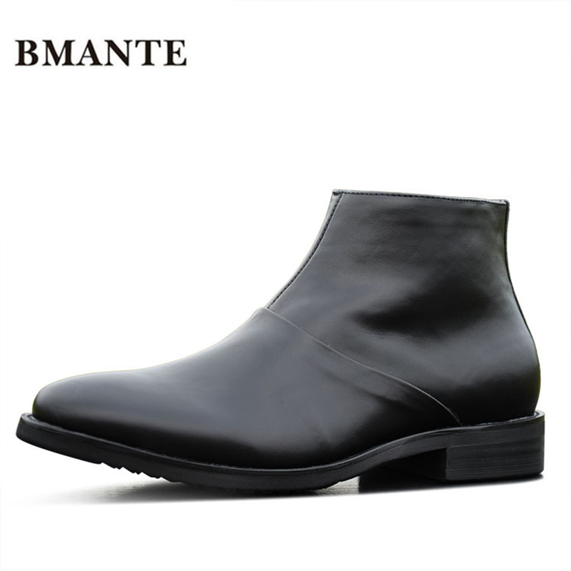 Real leather black fashion casual track Male social tide chukka shoe chaussur Top Motorcycle marten Footwear barrel boot for men