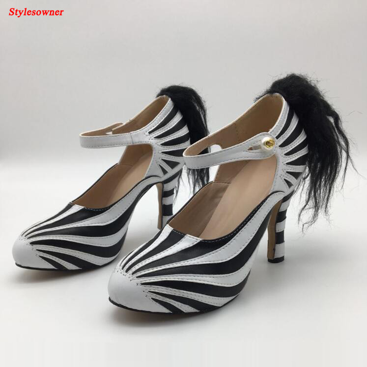 Stylesowner Genuine Leather Round Toe Pumps Zebra-stripe Shallow Buckle Belt Shoes Black Mix White Chunky High Heel Women Shoes