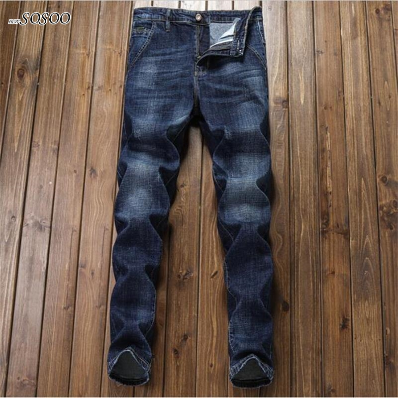2018 New young man Korean style 100% Cotton classic fashion knitted slim jeans pants men jeans #8802