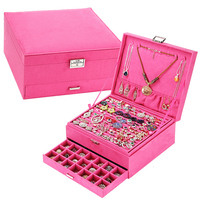 2016 Red Pink Purple Casket Velvet Wood Boxes Hot Sale Fashion Large Drawer jewelry Display Organizer Storage Carrying Cases Box