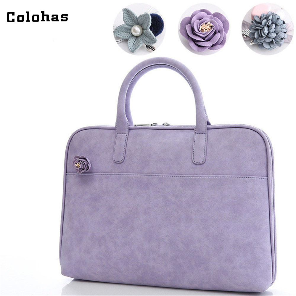 цены 11.6 12 13.3 14 15.4 Inch Laptop Handbag Women Fashion Briefcase for Macbook Air Pro HP Korean Style PU Leather Messenger Bag