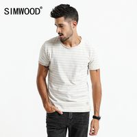 SIMWOOD 2017 Summer Autumn T Shirt Men Vintage Curl Hem Tops 100 Pure Cotton O Neck