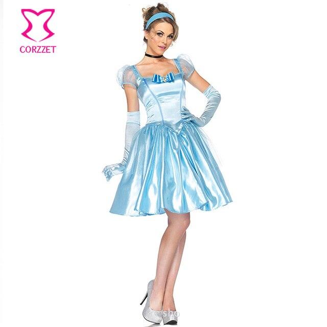 Fiaba Gioco di Ruolo Blu Adulto Principessa Cenerentola Costume di Carnevale  Festa di Halloween Costumi Sexy 1798bce3026c