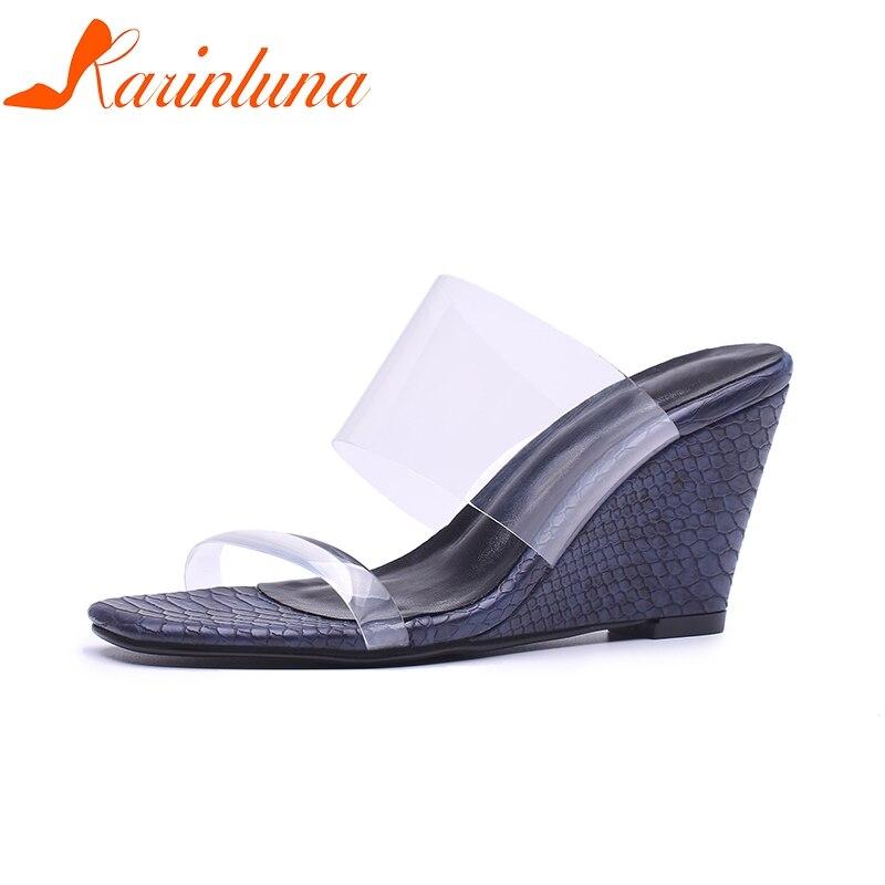 88e1f847 La Fiesta Zapatos Tacón Sandalias Calidad Alto 2019 Azul Marca Superior  Mujer De Karinluna Mulas Bombas oro Moda Cuñas EwOYqHB