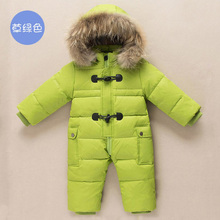 Infant down jacket boy winter romper open file female baby thick white duck down out to hold warm onesies все цены