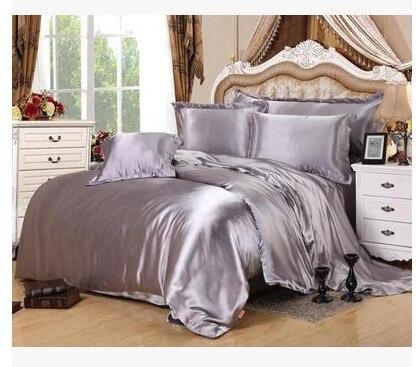 Серебряные наборы Постельных Принадлежностей California King size Королева полный серый пододеяльник установлены шелковый атлас лист кровать в меш