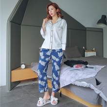 cad7643b45 Long Sleeved Cotton Women s Pajamas Set pineapple Sleepwear Girls Pyjamas  Mujer Lady Casual Home Clothing m-22