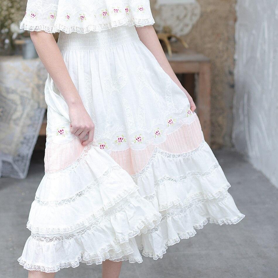Линетт's CHINOISERIE вышивка Роза маленький антокаулус свежий флюид пэчворк кружева спагетти ремень цельное платье