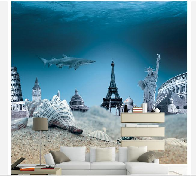 Custom mural 3D non-woven wallpaper 3D around the world, the background wall of the bott ...