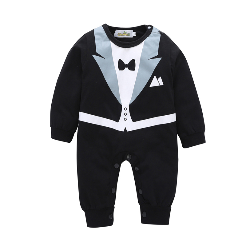 Baby Boy Clothes Gentleman Baby Rompers Boy Suit Tuxedo Black White Cotton Bow Tie Jumpsuit Long Sleeved Crava Spring Autumn V20 white black rompers baby bow tie romper cotton recem nascido jumpsuit baby onesie vestido infantil baby boy costume kd315
