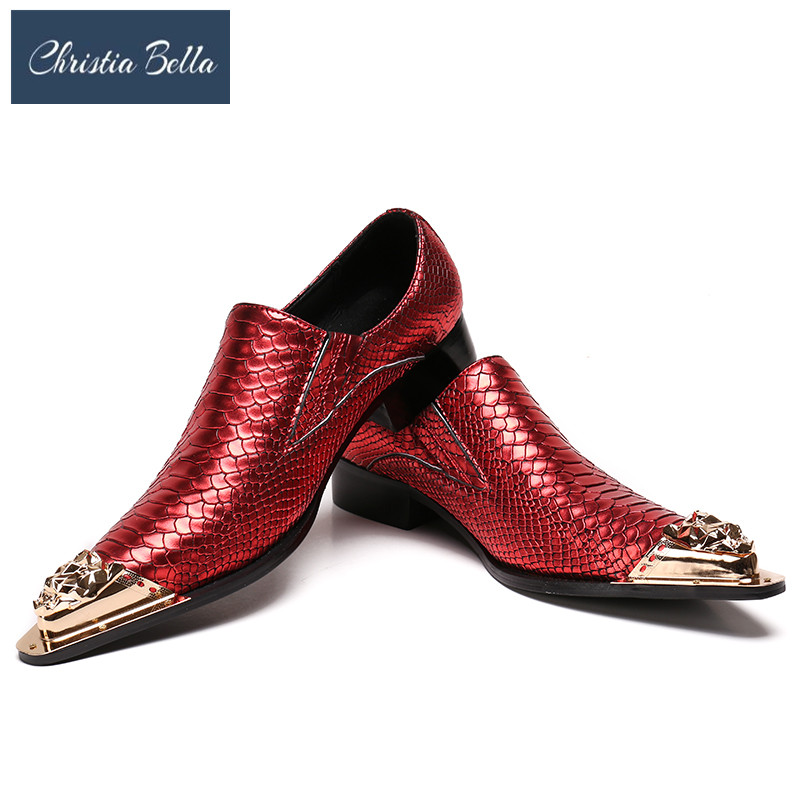 Christia Bella Leather Men Handmade Loafers with Metal Tip Fashion Banquet and Prom Wedding Men Dress Shoes Office Suit Shoes