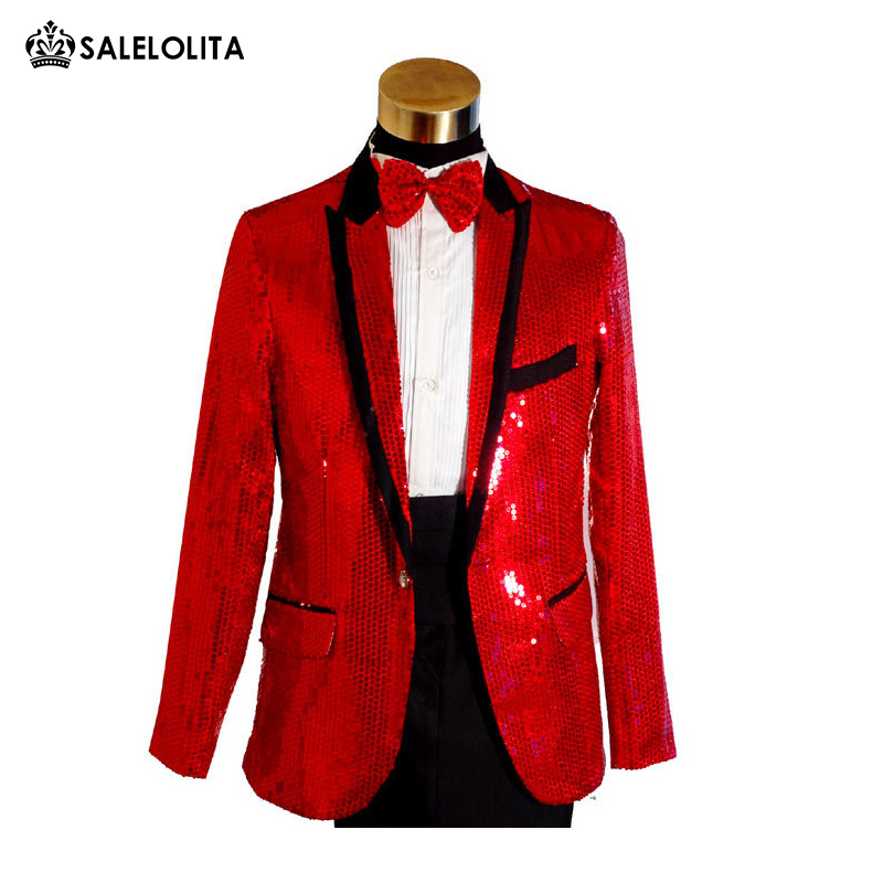 ON SALE Top Quality Plus Size Mens Gold Blue White Red Sequins Tuxedo Suit  Wedding Stage Performance Blazers Pant Suit 1aa1dfec9f