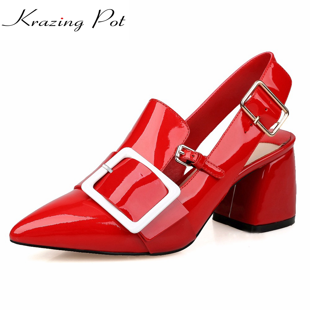 Metal decoration square buckle mixed color woman sandals hollywood star high heel pointed toe genuine leather shoes pumps L02 women genuine leather sandals fashion pointed toe causal shoes buckle solid color black pink orange spring shoes square heel