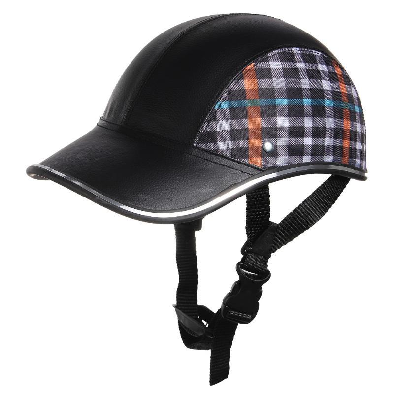 CARCHET Motorcycle Helmet Baseball Black Plaid Half Open Face Helmet Safety Hard Hat Helmets cascos para moto 55-60cm beanie