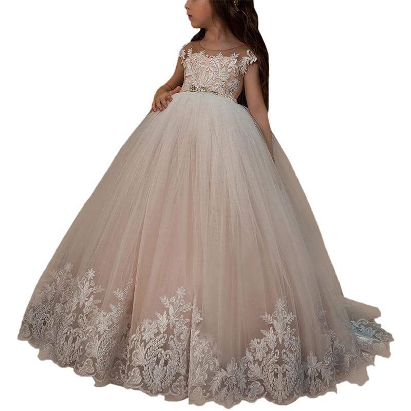 Little Flower Girls Dresses Party Wedding Vestidos Para Nina Robe De Soiree Fille Kids Ball Gowns White First Communion Dresses in Flower Girl Dresses from Weddings Events