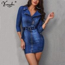 مثير ربيع الخريف الدنيم فستان المرأة العلامة التجارية مرونة عالية ضئيلة ثوب أنيق كاوبوي خمر زر ميدي Bodycon فستان Vestido