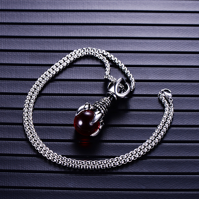 Monster claw men pendant fashion Holding three colors glass beads necklace animal stainless steel dragon claw pendant necklace