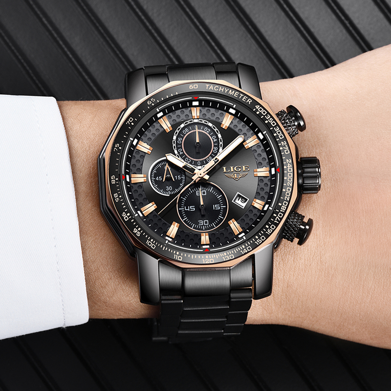 LIGE Mens Watches Top Brand Luxury Men's Military Waterproof Sport Watch Stainless Steel Big Dial Quartz Clock Relogio Masculino