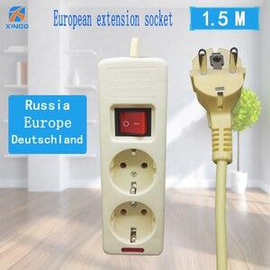 Image 4 - 250V 16A poder de la UE de múltiples, 2, 3, 4, 5, 6 agujero forma tomacorrientes de CA enchufe extensor hembra 4,8mm 2 Pin red de cable filtro para casa