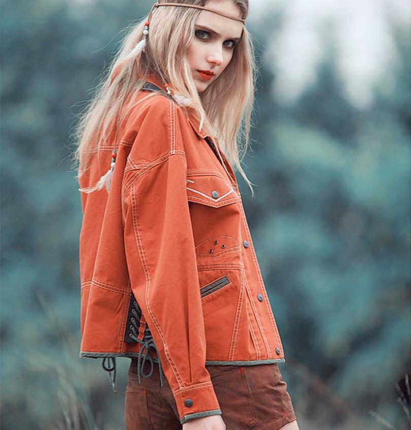 Aporia.As Autumn Spring Novelty Women Vintage&Retro Covered Button Embroidery Washing Denim Loose Bandage Short Design Jackets