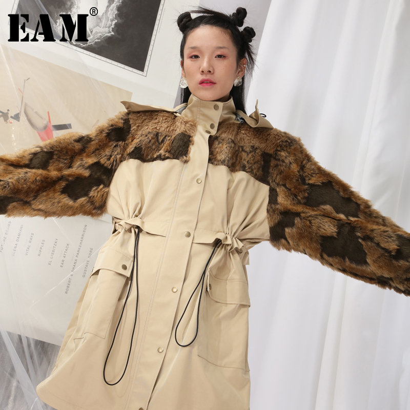 [EAM] 2019 New Spring Lapel Long Sleeve Fur Stitch Army Green Thick Warm Cotton-padded Coat Women   Parkas   Fashion JK672