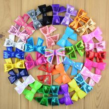 100 stks/partij 36 Kleur U Pick 2 inch Mini Glitter Sequin Bow Applicaties Boutique Meisjes Haar Accessoires DIY Crafting Supplies(China)