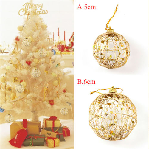 Us 1 72 28 Off 6pcs Christmas Tree Gold Pendant Hanging Xmas Balls Decorations Baubles Christmas Party Wedding Ornament Balls In Pendant Drop