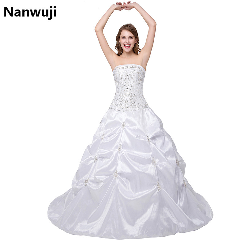 Vestido De Noiva 2016 New Stock US Size 2-22 White/Ivory Appliques Pearls Ball Gown Wedding Dress Wedding Gowns Robe Mariage