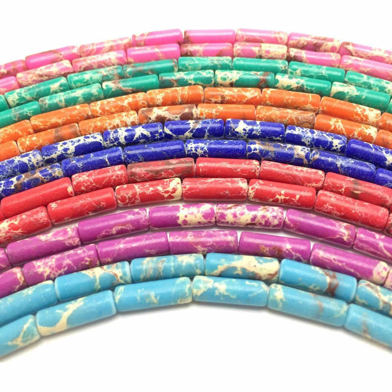 4x13mm multi-color imperial stone cylindrical beads Natural Sea Sediment Stone is used for DIY jewelry bracelet production