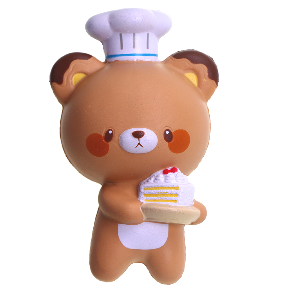 1pc Cute Slow Rising Squishy Cocking Bear holding cake 2 Colors Stress Release Toys for Children 15cm Squishies Squishy Retail
