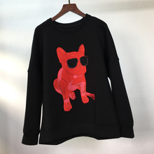 Autumn new fashions space cotton puppy pattern embroidered Sweatshirt women loose top round neck long sleeved Hoodie Jacket.