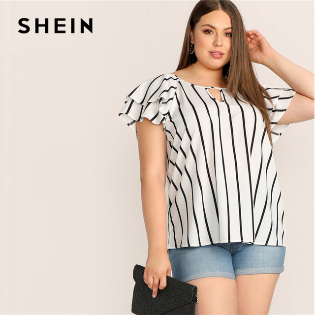 SHEIN Plus Size White Striped V Cut Front Layered Flutter Raglan Sleeve Top Women Summer Elegant Cut Out Butterfly Sleeve Shirt