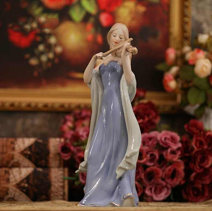 Elegant Porcelain Violin Playing Lady Figurine Ceramic Music Belle Statuette Decor Gift Craft Ornament Accessories Furnishing