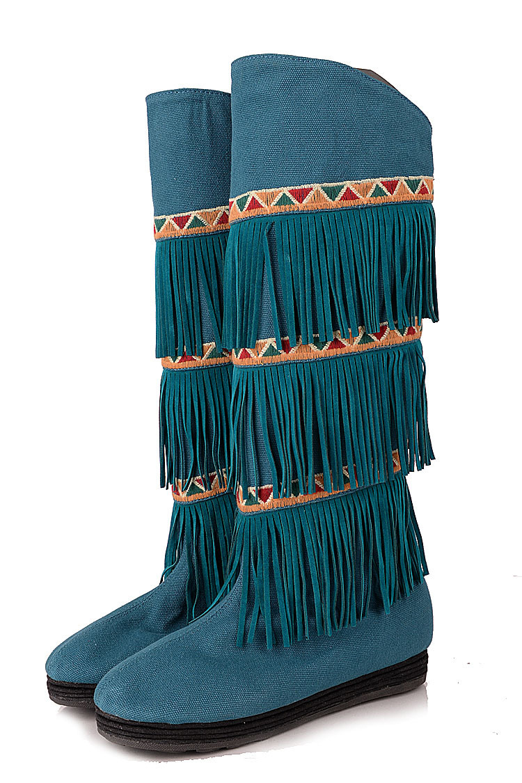 Women Autumn Winter Flats Tassel Chinese Style Embroidery Round Toe Strong Cloth Soles Knee High Boots Size 35-39 SXQ0812 chinese style ethnic red blue flowers embroidery hat cap headgear women 2017 autumn winter vintage design skullies beanies