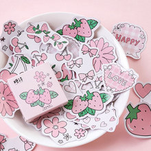 45Pcs/box strawberry Decoration Paper Sticker DIY Scrapbook Notebook Album Sticker Stationery Kawaii Girl Stickers lovedoki summer foil gold sticker alphabet words date notebook decorative stickers planner accessories scrapbook diy stationery