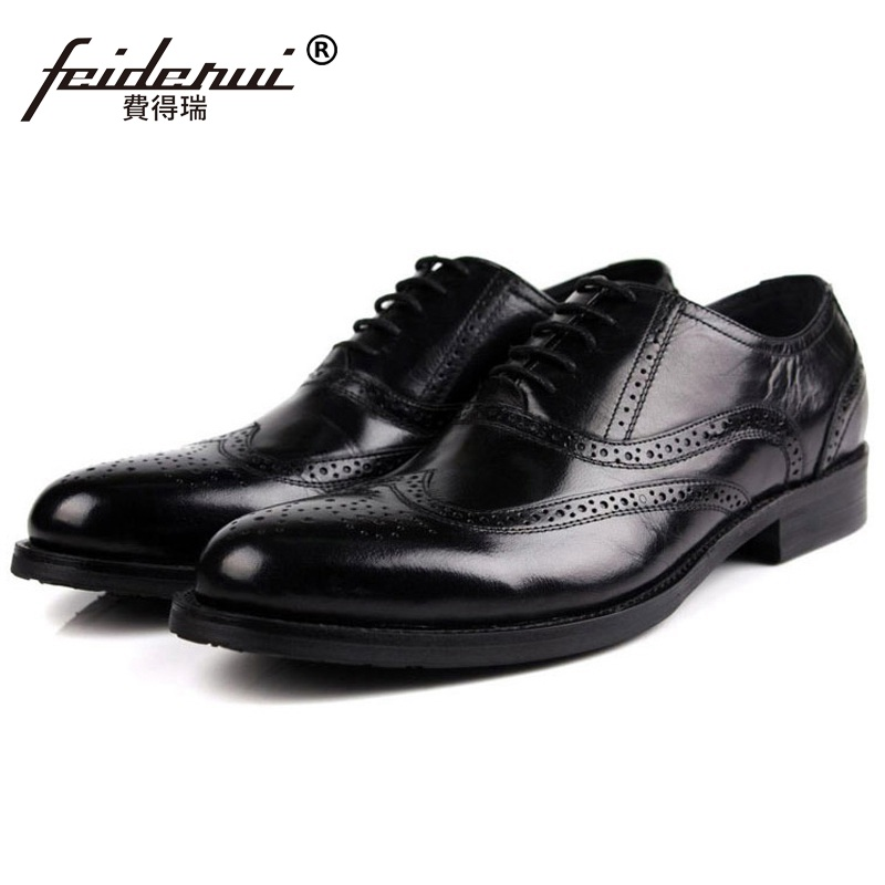 Fashion Wing Tip Carved Platform Man Dress Shoes Genuine Leather Brogue Oxfords Luxury Brand Round Toe Formal Men's Flats ME53 ruimosi high quality wing tip man dress