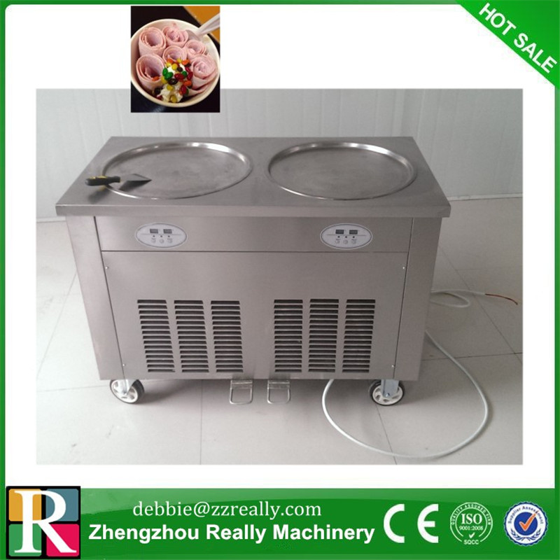 high power 1800W double pan fried ice cream machine and fry ice machine&ice pan machine\ freeze milk maker shipping by seahigh power 1800W double pan fried ice cream machine and fry ice machine&ice pan machine\ freeze milk maker shipping by sea