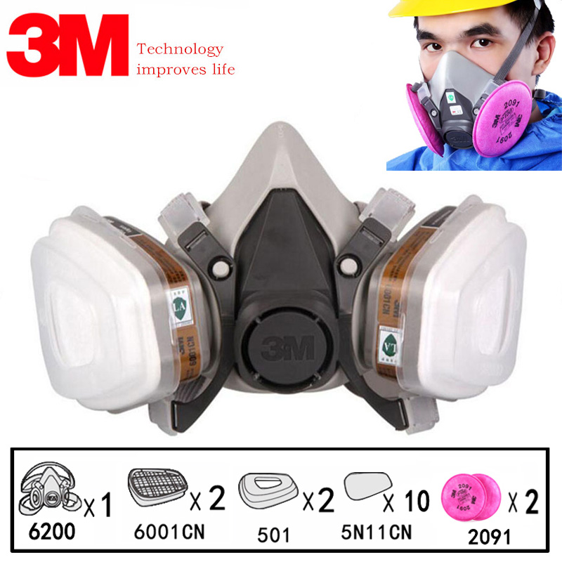 3M 6200 Half Face Painting Spraying Respirator 17 In 1 Suit Gas MaskSafety Work Filter Dust Mask