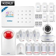 KERUI W18 беспроводная Wi-Fi GSM сигнализация Домашняя безопасность защита от взлома комплект датчик сигнализации со вспышкой сирена 720P IP камера