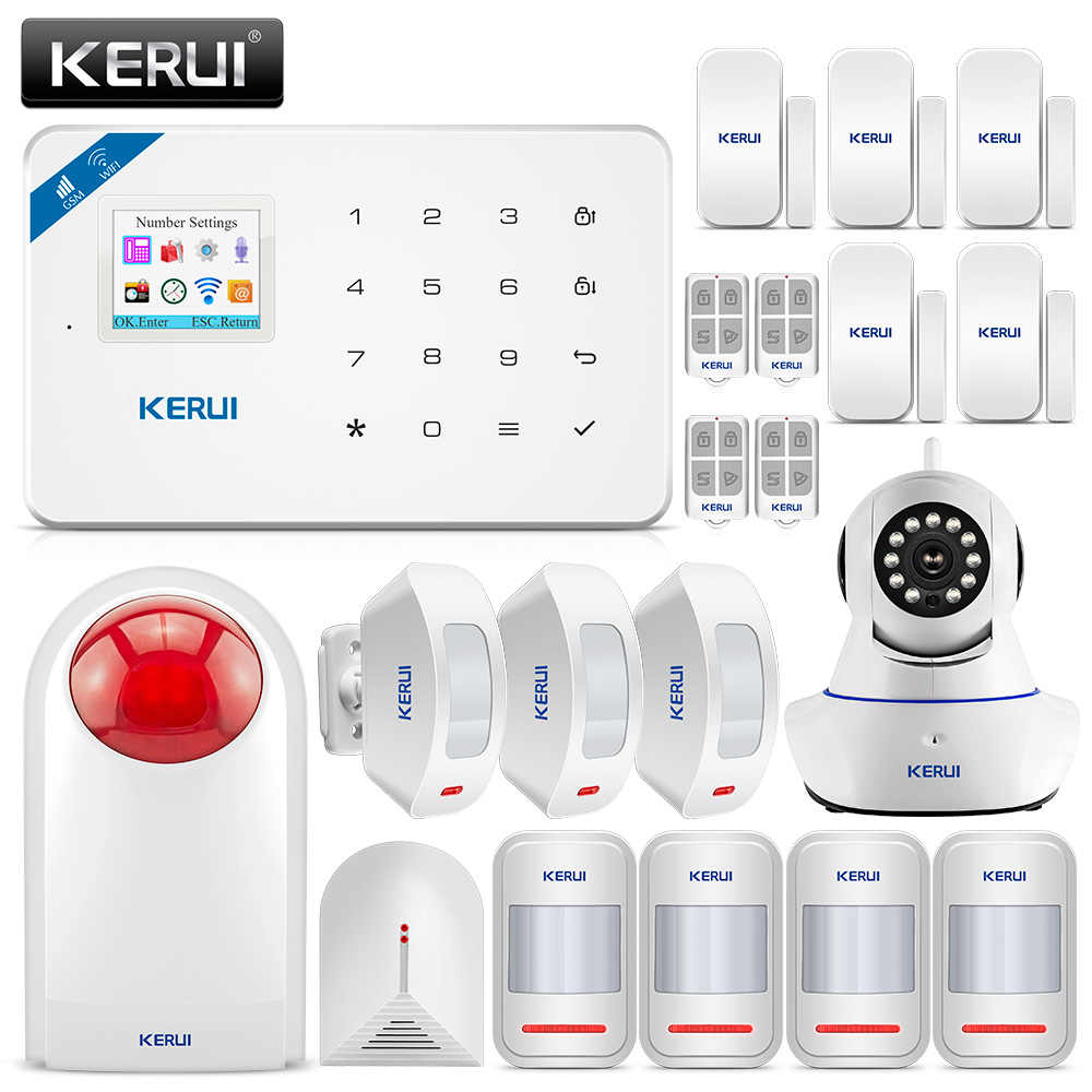 KERUI W18 Drahtlose WiFi GSM Alarm System Home Security Einbrecher Schutz Kit Alarm Sensor Mit Flash Sirene 720P IP kamera