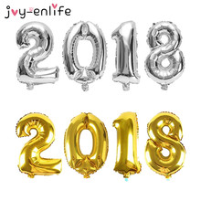 "JOY-ENLIFE 4pcs 16inch Gold/Silver/Blue/Pink Number ""2018"" Balloon Foil Ballon Happy New Year Party Decor Celebration Supplies"