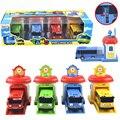2016 Escala modelo 4 unids/set el pequeño autobús tayo niños miniatura bus de plástico bebé oyuncak garaje tayo bus juguetes para niños de coches regalo