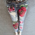 3D Boyfriend Jeans Denim Sequins Beading Pencil Jeans Women Club Style Street Holes Ripped Jeans femme 2017 New Fashion