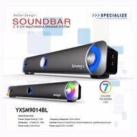 Smalody Multimedia Speaker HIFI Subwoofer Sound Blaster Stereo PC Speaker with LED Colorful Soundbar free shipping